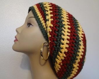 Slouchy Hat - Rasta Hat - Dreadlocks Hat - Handmade - Crochet - Fast Shipping
