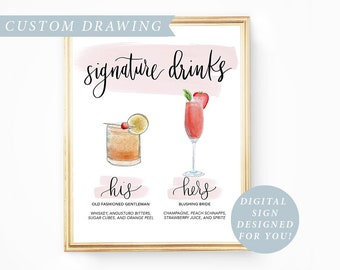 His Hers Drink, Digital Signature Drinks Sign Printable, Signature Drink Sign Wedding Signature Cocktail Sign Wedding Drink Sign Watercolor