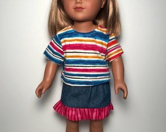 """Denim skirt set for 18"""" doll"""
