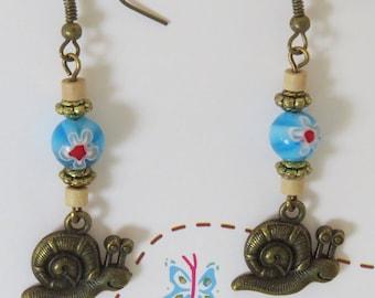 Style fancy snail & Millefiori earrings