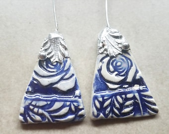 Ceramic Earrings Charms Pair with Decorative Tinwork - You Choose Metal Color - #a30