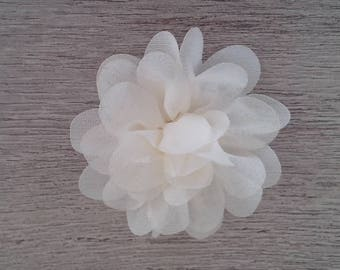 Off-white organza fabric flower