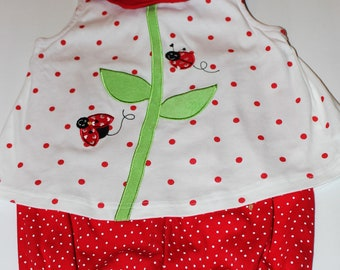VTG Toddler Lady Bug Red and White Polka Dot Girl Spring Summer Romper Suit back Zippered Faux Attached Dress - SZ 24M