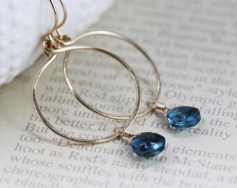 London Blue Topaz 14k Gold Filled Earrings Simple Circle Hoop Loop November Birthstone Gemstone Semiprecious Hammered  - Ella