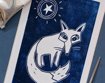 Starry Fox original linocut print