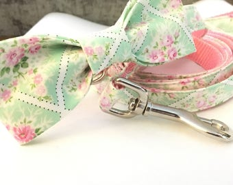 Pink and Mint Floral Dog Bow - Fancy Floral Dog bow  - bow tie - Wedding bow tie - Matching bow and collar - Dog accessories