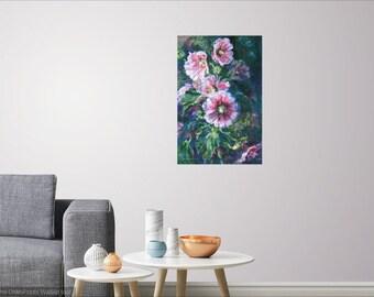 Hollyhock watercolor art print, flower art print, floral garden landscape art, wall decor,pink hollyhock art,home decor,pink flower print