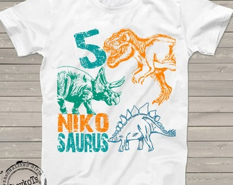 Dinosaur birthday shirt for kids personalized tshirt 3rd bday 1st, 2nd, 4th, 5th, 6th any birthday dino t-rex theme party shirts for kids