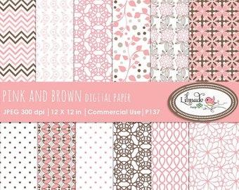 50%OFF Digital paper, wedding digital paper, pink and brown digital paper, patterned scrapbook paper, commercial use, P137