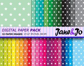 50% OFF SALE Star Pattern Digital Paper,Big Star Digital Paper,Scrapbook paper, Rainbow Star Background Image, Instant Download