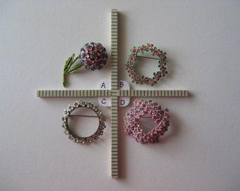 Each - Flower Brooch Enamel Rhinestone Pink Blue Green Pin Vintage Art