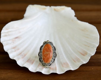 Natural Italian Coral Ring - Size: 8