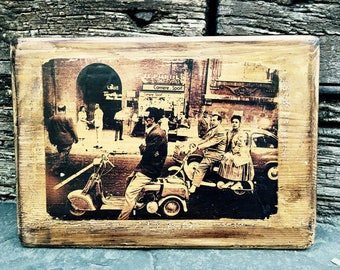 Vintage Vespa Scooter Wooden Picture Wall Decor Home Decor