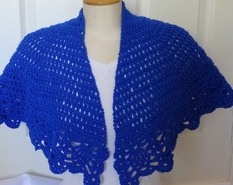 Sale - Crochet Short Blue Lacy Shawl/Wrap - Ready to Ship