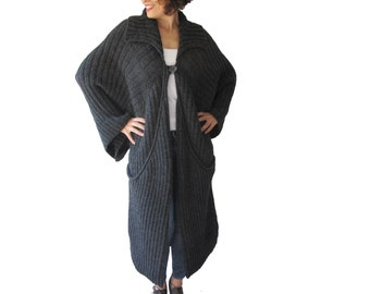 Maxi Coat Cardigan with Big Pockets by Afra Plus Size Over Size
