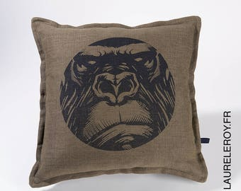 Gorilla khaki pattern linen Cushion cover