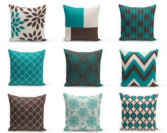 Outdoor Pillows, Teal Brown Beige, Outdoor Home Decor, Outdoor Throw Pillows