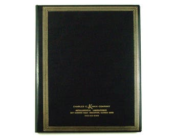 Large Address Book, Black Leatherette with Gold Tone Metallic Detail, Alphabetized Pages, Charles C. Kawin Co. Unused Vintage Desk Accessory
