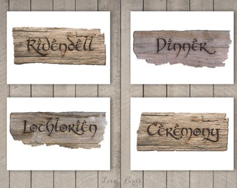 Hobbit / Lord of the Rings Wedding decoration - Sign post DIY 20 pages - Digital file
