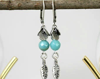 Blue Amazonite and Antiqued Silver Dangling Feather Earrings, Powder Blue Earrings, Feather Earrings, Summer Jewelry, 1.5 inches