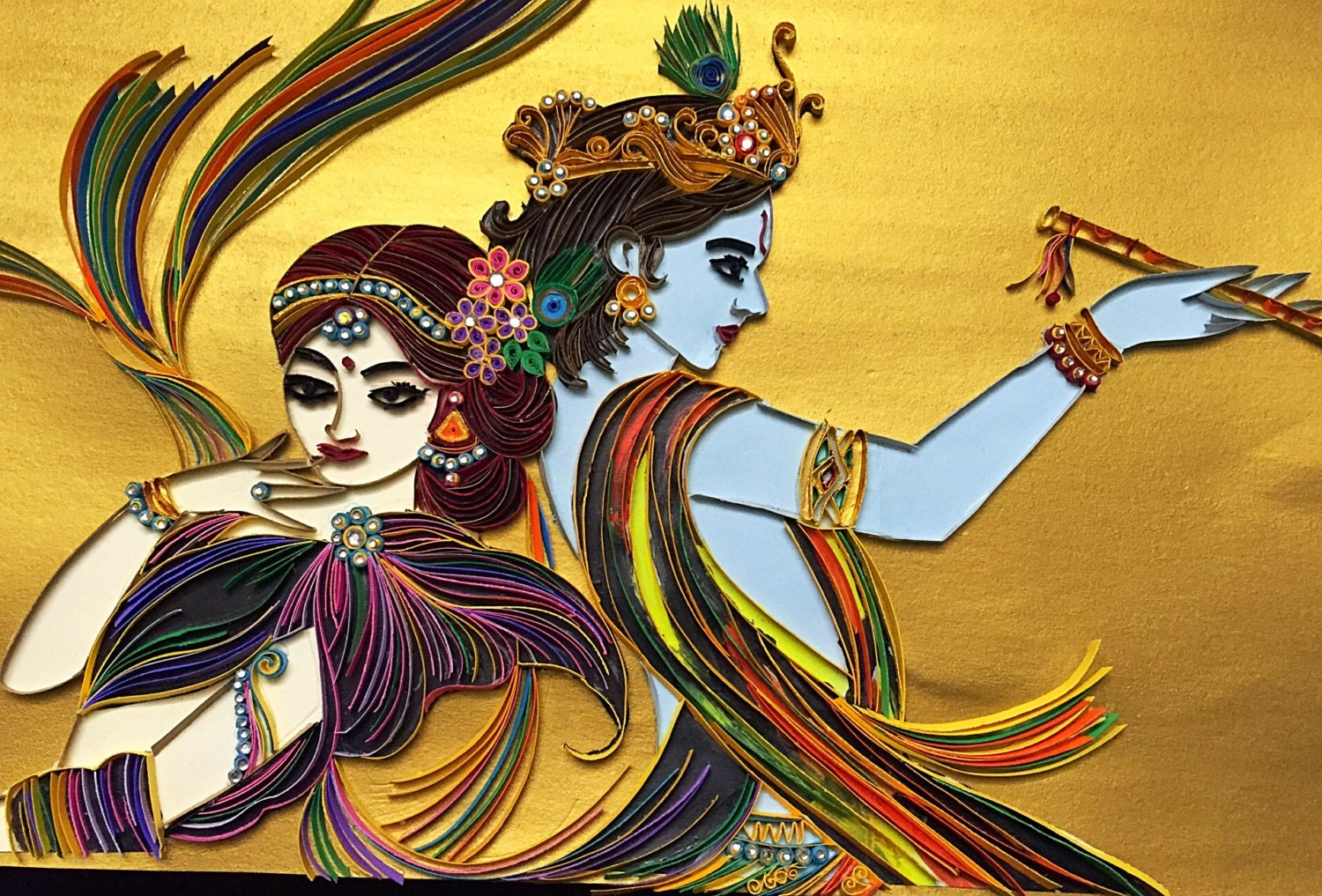 Quilled Radha krishna from sarithaquilling on Etsy Studio