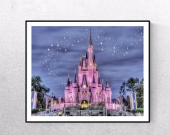 Disney Castle Photo Print, Cinderellas' Castle Print, Disney World, Fine Art Photography, Magic Kingdom Wall Art, Girl Room Decor, Boy Room