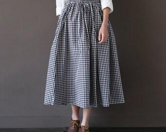 Sale - Cotton Linen Skirt - Shepherd check  - Women Clothing - Women Skirt
