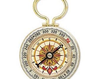 """Compass Pendant, Steampunk, Focal, Working Compass, Brass, 3x2"""", 1 each, D709"""
