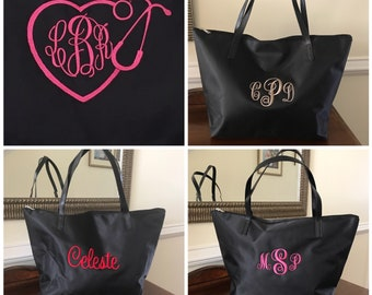 Black Monogram Tote Bag - Custon Name - Back to School Tote - Bridesmaid Gift - Foldable Tote - Personalized Tote - Weekender Bag Women