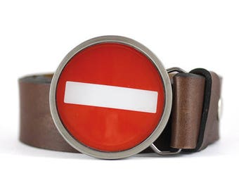 No Entry Belt Buckle, Road Sign Belt Buckle