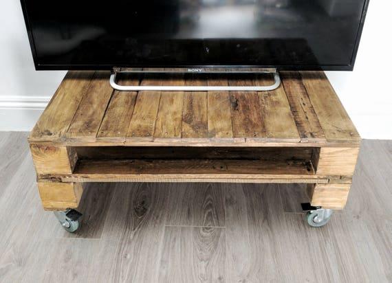 Reclaimed Timber TV Stand TELE ALUS/ Pallet Wood Media Unit With Storage In  Rustic Medium Oak U0026 Dark Oak With Edgy Castor Wheels