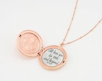 Rosegold Locket Necklace, Custom Engraved Locket Necklace, Engraved Necklace, Customized Necklace, Personalized Gold Necklace