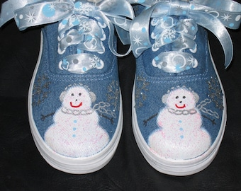 Snowman custom hand painted holiday shoes