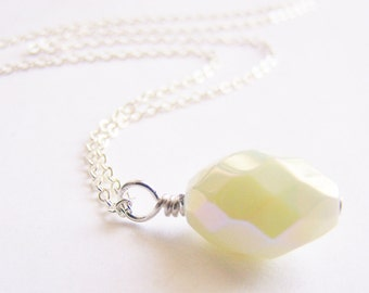 Old Hollywood - Pale Yellow Milk Glass Necklace - bridal - wedding - bridesmaids - affordable gifts - beach - free shipping WAI