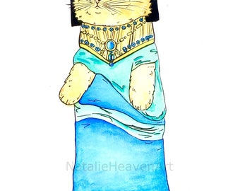 Egyptian Cat Print 'Cleocatra' from Original Cat Painting, Cat Lover Gift, Yellow Cat Art, Funny Cat Picture, Egypt Cleopatra Animal Art