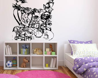 Wall Sticker Decals Alice In Wonderland Cartoon Rabbit Tea Time Cheshire Cat Girl Nursery Bedroom 1345b
