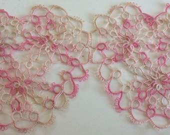 A43 Antique Vtg Heart Lace Tatted Pink Tatting Embellishment Trim Valentine  A43