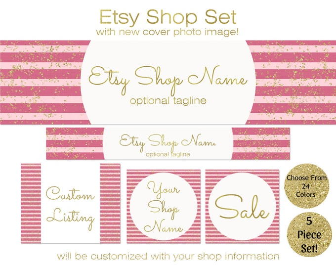 ETSY SHOP SET -Choose Your Font -Cover Photo, Icons, Banner Pink & Gold Confetti Horizontal Stripes Business Branding 24 colors Available