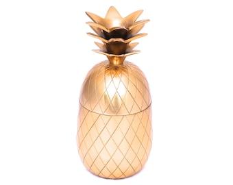 "Gold Pineapple, Vintage 11"" Brass Coloured Pineapple Decor, Large Gold Pineapple Box, Mid Century Ice Bucket, Hollywood Regency Bar Decor"