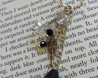 Black & White Flower Dangle Necklace with Key and Faceted Sparkling Glass Beads - Adult or Child, Fairy, Costume, Faire