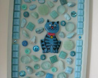 Cat Mosaic Turquoise