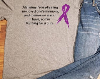 Alzheimer's Awareness Shirt, ALZ Awareness, ALZ Shirt, Alzheimer's Awareness, Purple Ribbon, Alzheimer's Ribbon, Alzheimer's Disease, ALZ
