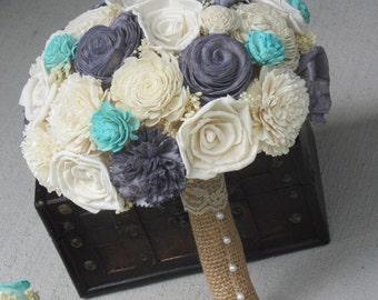 Sola Bouquet, Burlap Bouquet, Grey Bouquet, Alternative Bouquet,  Aqua Bouquet, Sola flowers, Wood Bouquet, sola flowers, bride bouquet