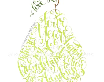 Fourth Anniversary Fruit and Flowers Anniversary Pear Print I pick you together we make a great pear Calligraphy Wedding Anniversary Gift