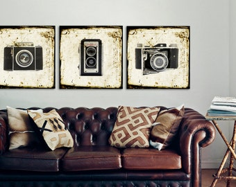 Set of Three Square Canvases Ready to Hang, Vintage Camera Prints, Office Decor, Wall art, Vintage Camera Decor