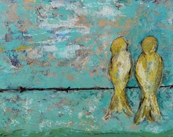 """Bird canvas, painting, art, abstract, 3/4"""" thick canvas print, Alone Together"""