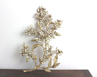 60s Vintage White & Gold Cherry Blossom Hanging Wall Art 12.0