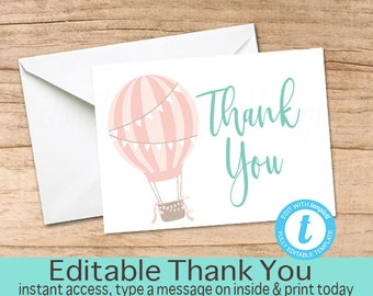 Hot Air Balloon Thank You Card, Printable Thank you Cards, Thank You, EDITABLE template, Instant Download, Pink Baby Shower Thank You Card