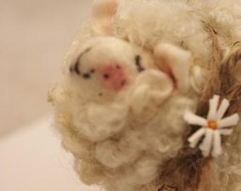 White Needle Felted Curly  Sheep #3291