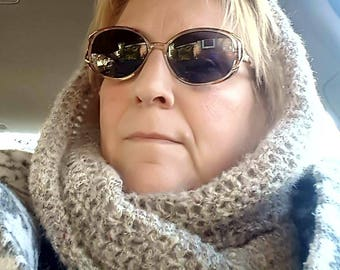 Hand crochet hooded infinity cowl scarf, one size fits most. Warm, cozy, super soft. Mottled gray.
